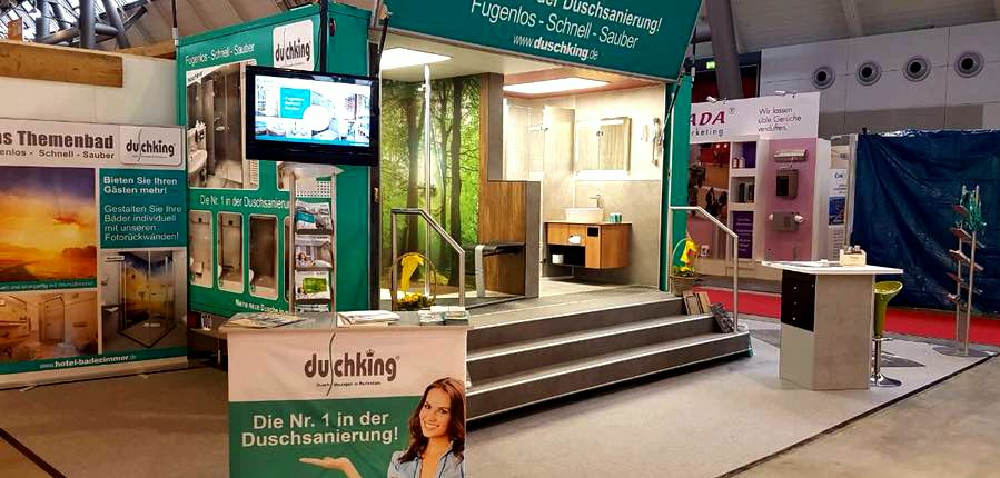 Duschking-Messestand